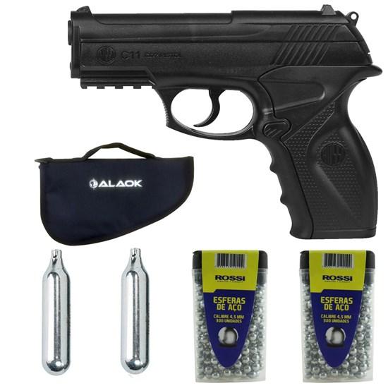 Pistola de Pressão CO2 Win Gun C11 4.5mm + 600 Esferas + 2 Mini Cilindros + Capa