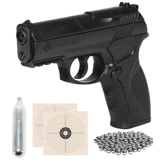 Pistola de Pressão CO2 Win Gun C11 4.5mm + Mini Cilindro CO2 + 2 Alvos + 300 Esferas