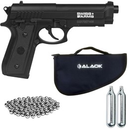 Pistola Pressão CO2 Swiss Arms SA P92 + 600 Esferas + 2 Mini CO2 + Capa