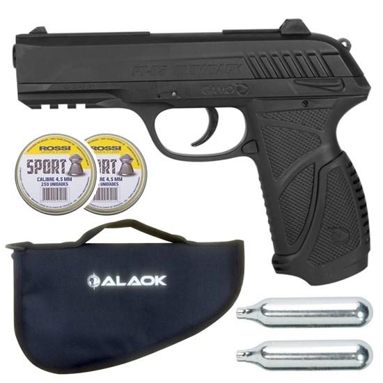 Pistola Pressão Gamo PT-85 Blowback 4.5mm + 500 Chumbinhos + 2x CO2 + Capa