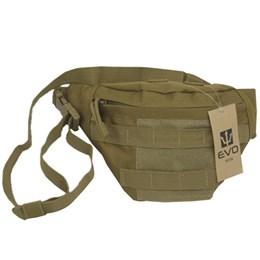 Pochete Tática Waist Bag Evo Tactical PO-018 Sistema MOLLE Tan