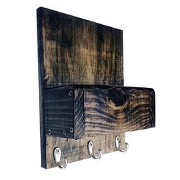 Porta Chaves de Parede Art Madeira com Porta Trecos Marrom