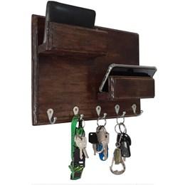 Porta Chaves de Parede Art Madeira para 5 Chaves com 2 Prateleiras Organizadoras