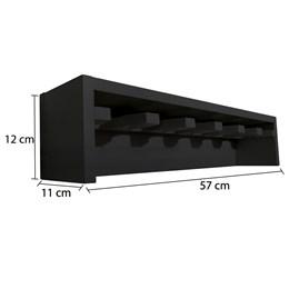 Porta Taças com 06 Compartimentos em MDF Preto