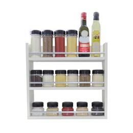 Porta Tempero de Parede em MDF 3 Compartimentos Branco com Barra Protetora