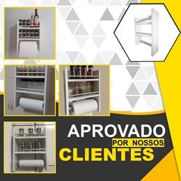 Porta Tempero de Parede MDF Branco 2 Compartimentos e Suporte Papel Toalha