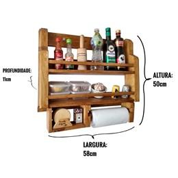 Porta Temperos e Condimentos de Parede Art Madeira Rústico com Suporte Papel Toalha