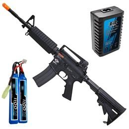 Rifle Airsoft G&G CM16 AEG Full e Semi-Automático + Carregador Balanceador + Bateria Li-Po 7.4V/2S
