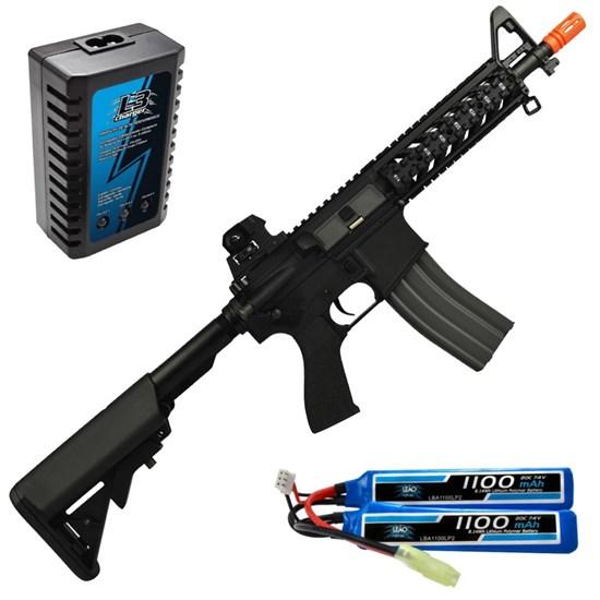 Rifle Airsoft G&G CM16 Raider AEG Full e Semi-Automático + Carregador Balanceador + Bateria Li-Po