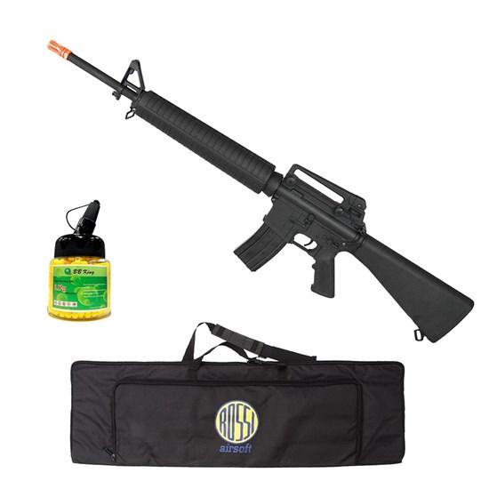 Rifle Airsoft M16 AEG Hi-cap com 1000 Munições BBs e Case Mala ActionX