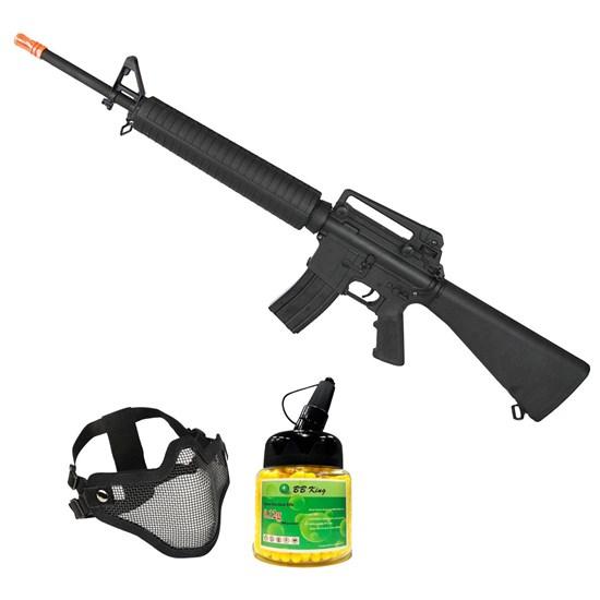 Rifle Airsoft M16 AEG Hi-cap com Máscara Meia-face Nautika e 1000 Munições BBs