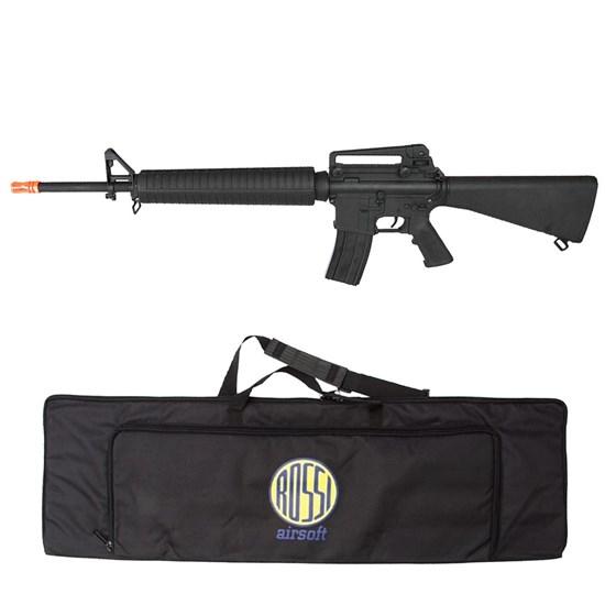 Rifle Airsoft M16 Elétrico Cyma AEG 380 FPS Hi-cap 300 BB's Bivolt CM017 + Case Mala ActionX