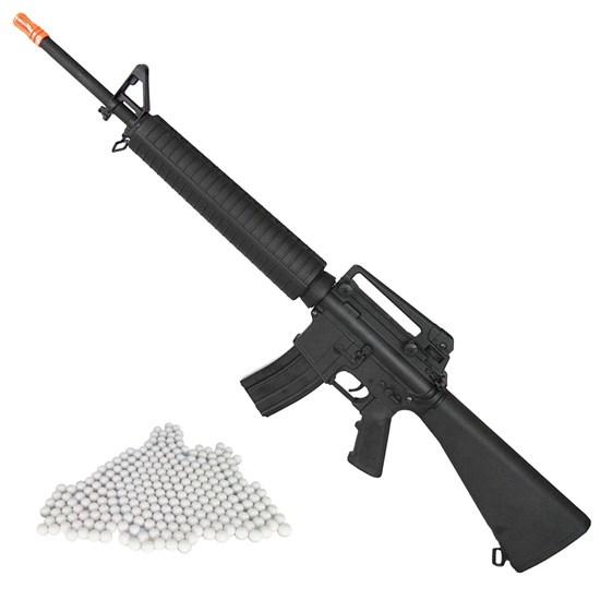 Rifle Airsoft M16 Elétrico Cyma AEG 380 FPS Hi-cap 300 BB's + Munições BBs 0,12g BB King 2000 Un