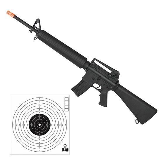 Rifle Airsoft M16 Elétrico Cyma AEG 380 FPS Hi-cap CM017 + 10 Alvos de Papel Bravo Militar