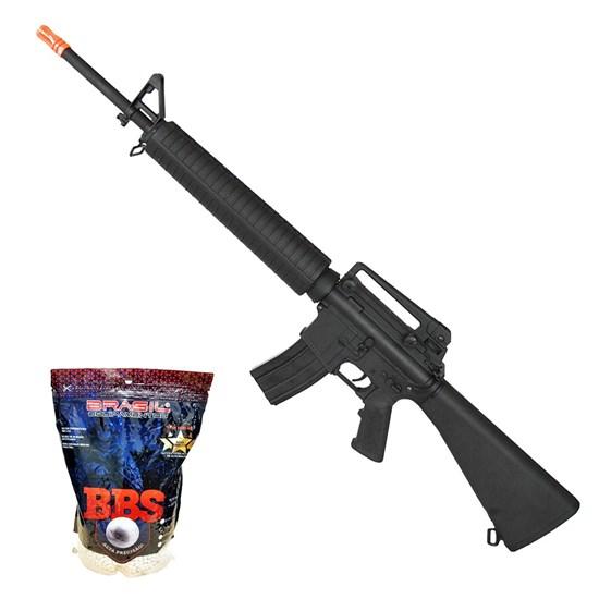 Rifle Airsoft M16 Elétrico Cyma AEG 380 FPS Hi-cap CM017 + Munições BBs 0,20g BB King 4000 Un