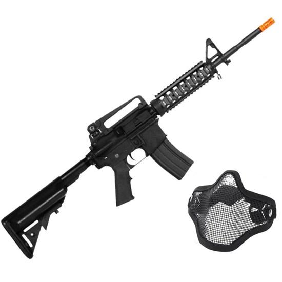 Rifle Airsoft M4A1-CQB AEG com Máscara Meia-face Nautika