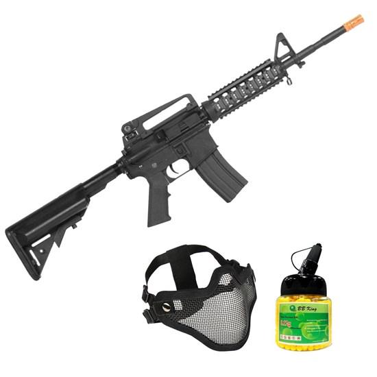 Rifle Airsoft M4A1-CQB AEG com Máscara Meia-face Nautika e 1000 Munições BBs