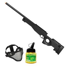 Rifle Airsoft Sniper L96 M59A com Máscara Meia-face Nautika e 1000 Munições BBs