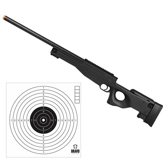 Rifle Airsoft Sniper L96 M59A Double Eagle com 10 Alvos Bravo Militar