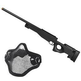 Rifle Airsoft Sniper L96 M59A Double Eagle com Máscara Meia-face Nautika