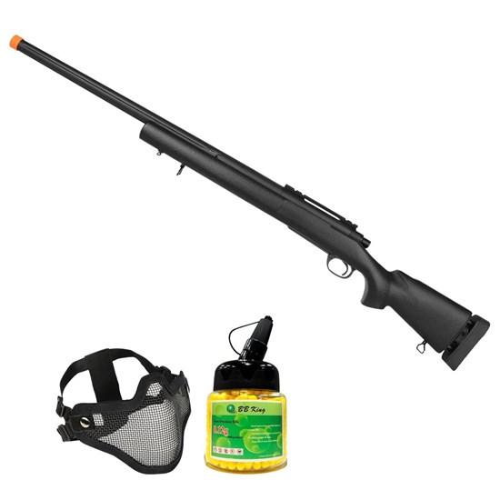 Rifle Airsoft Sniper M24 CM702 SWS com Máscara Meia-face Nautika e 1000 Munições BBs