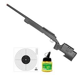 Rifle Airsoft Sniper M62F Bolt com 10 Alvos Papel Bravo Militar e 1000 Munições BBs
