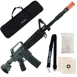 Rifle Airsoft Vigor M16 RIS Toy + 2000 BB's 0,12g + Capa + Bandoleira + 2 Alvos