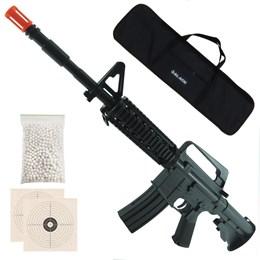Rifle Airsoft Vigor VG M16 RIS Spring + 1000 BB's 0,12g + 2 Alvos + Capa