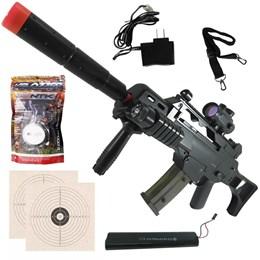 Rifle Fuzil Airsoft Cyma G36 CM021 AEG Automático + 2000 BBs 0,12g Nautika + 2 Alvos 1x1 14x14cm