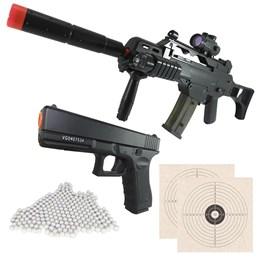Rifle Fuzil Cyma G36 CM021 AEG + 4000 BBs + Pistola Vigor VG GK-V20 + 2 Alvos 1x1 14x14cm Airsoft