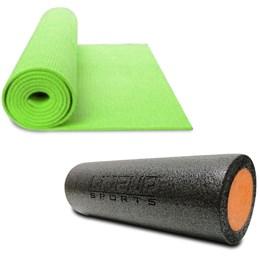 Rolo 45X15CM para Pilates e Yoga LIVEUP LS3764B + Colchonete de Yoga Verde LiveUp LS3231G