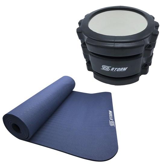 Rolo de Liberação Miofacial ZStorm 10cm Preto + Tapete Colchonete Yoga Mat TPE