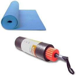 Rolo de Yoga e Pilates 3 em 1 LIVEUP LS3765 + Colchonete de Yoga Azul LiveUp LS3231B