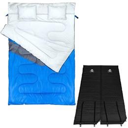 Saco de Dormir Casal Envelope Nautika + 2 Colchonetes Isolante Térmico Guepardo