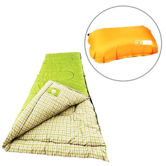 Saco de Dormir Green Valley Coleman com Travesseiro Inflável Looper AZTEQ