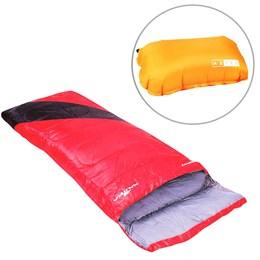 Saco de Dormir Liberty Nautika Vermelho + 1 Travesseiro Inflável Azteq