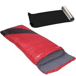 Saco de Dormir Nautika Liberty Vermelho + Isolante Térmico E.V.A. Aluminizado