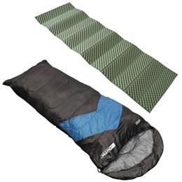 Saco de Dormir Nautika Tipo Envelope e Sarcófago + Isolante Térmico 1,80m Azteq