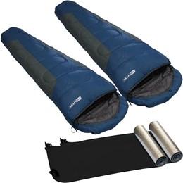 Saco de Dormir Sarcófago Mummy 2 Unidades + Isolante Térmico Aluminizado 2 Unidades - Nautika