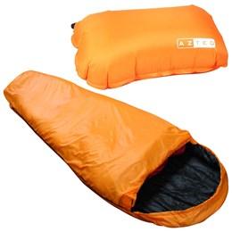 Saco de Dormir Térmico até -1°C Nautika Micron X-Lite Laranja com Travesseiro Inflável Looper