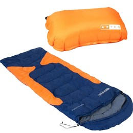 Saco de Dormir Térmico até -3,5°C Nautika Freedom Azul e Laranja com Travesseiro Inflável Looper