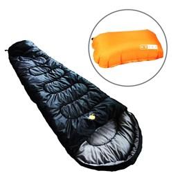 Saco de Dormir Térmico até 5°C Guepardo Ultralight Preto com Travesseiro Inflável Looper