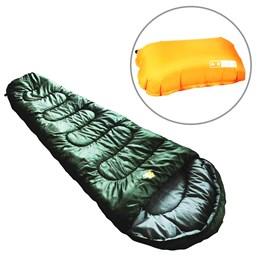 Saco de Dormir Térmico até 5°C Guepardo Ultralight Verde com Travesseiro Inflável Looper