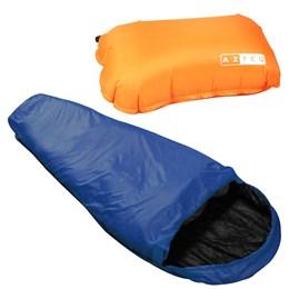 Saco de Dormir Térmico Nautika até -1°C Micron X-Lite Azul com Travesseiro Inflável Looper