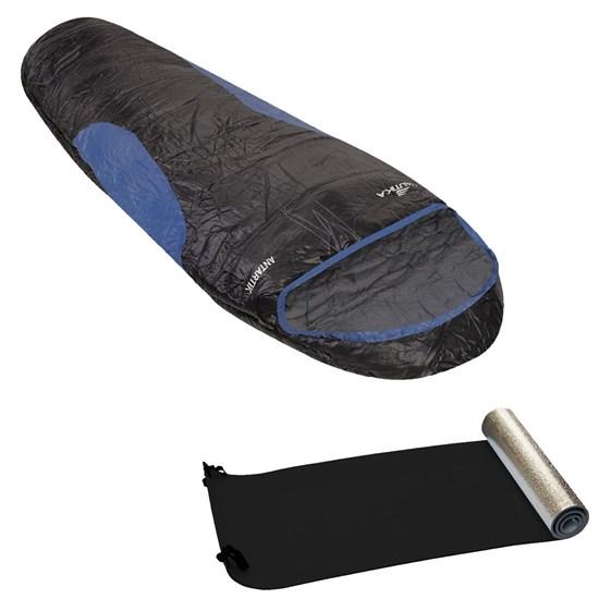 Saco de Dormir Tipo Sarcófago Antartik Preto e Azul + Isolante Térmico em E.V.A. - Nautika