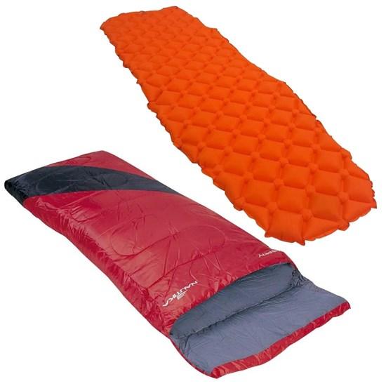 Saco Dormir Tipo Envelope Nautika + Colchonete Inflável Isolante Térmico Azteq