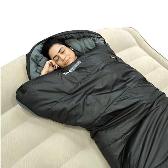 Saco Térmico de Dormir Tipo Sarcófago 7º Heat Azteq com Zíper Preto