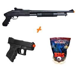 Shotgun Airsoft CYMA ZM61 280 fps + Pistola P698 + 4000 BBs 0,20g