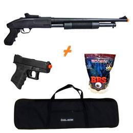 Shotgun Airsoft CYMA ZM61 280 fps + Pistola P698 + 4000 BBs 0,20g + Capa