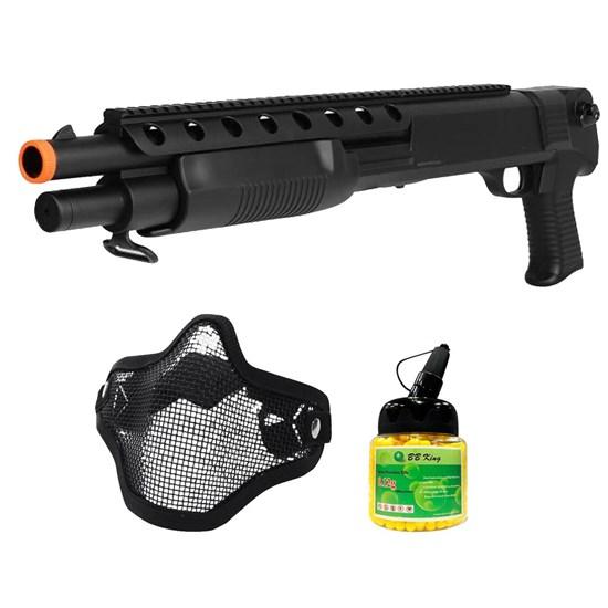 Shotgun Airsoft M309 6mm Spring com Máscara Meia-face Nautika e 1000 Munições BBs